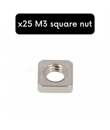 x25 NUT M3 SQUARE INOX